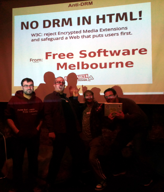 "Image for FSM says ""No"" to DRM"